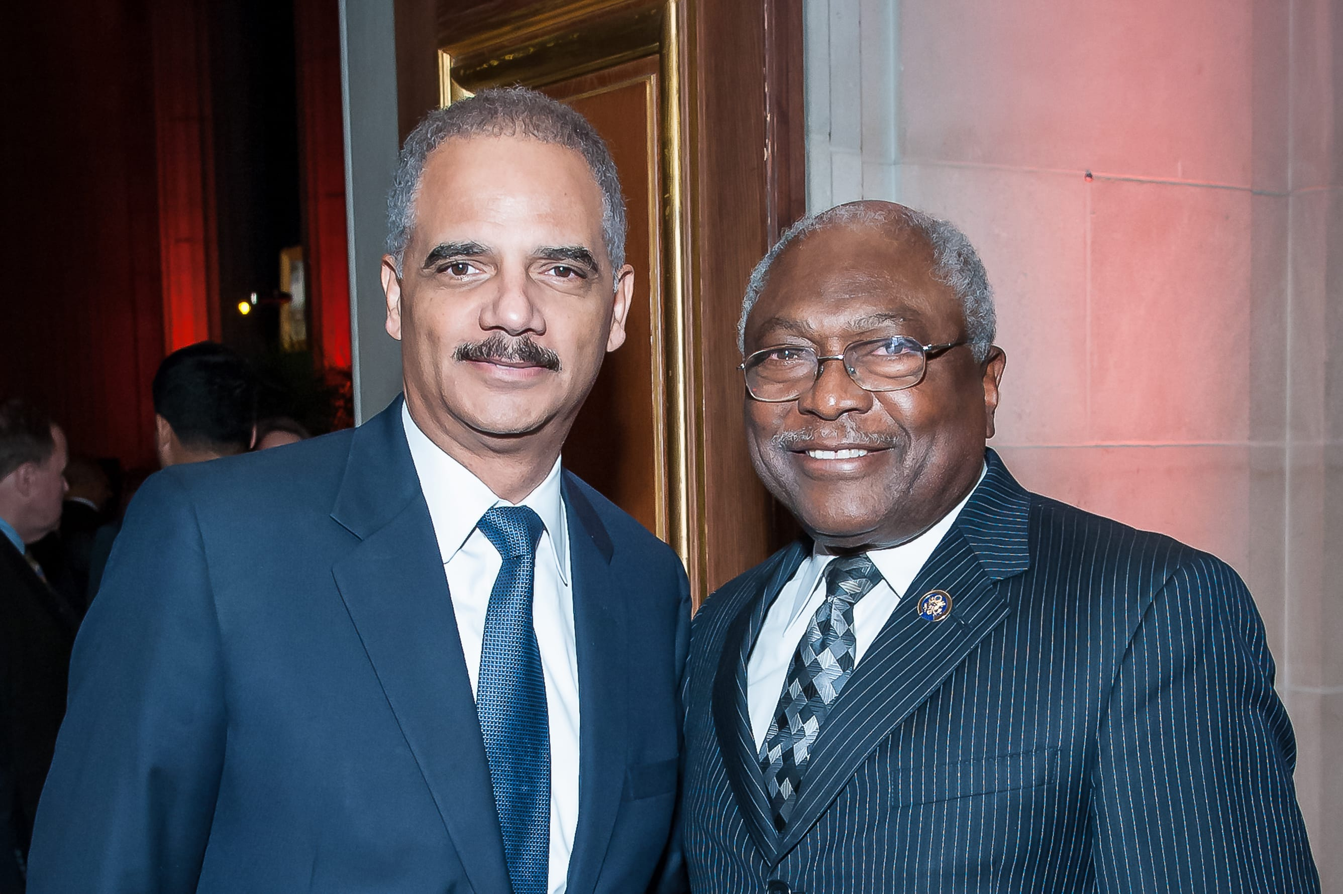 James Clyburn and Eric Holder receive the LBJ Liberty and Justice for All Award